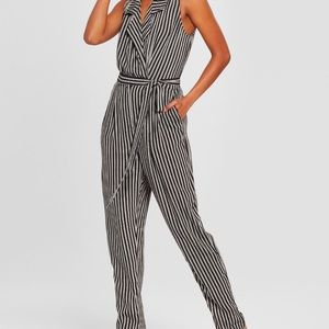 Who what wear black and white striped jumpsuit NWT